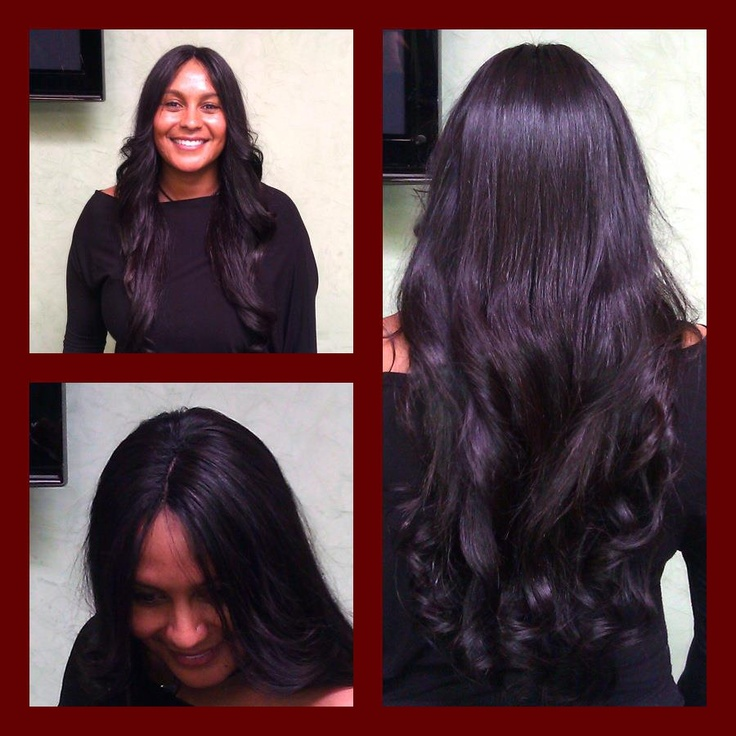 "DreamGirls Full Head Weave with the ""Illusional Part."" www.dghair.com #indianhair #weave #extensions #hairextensions #longhair"