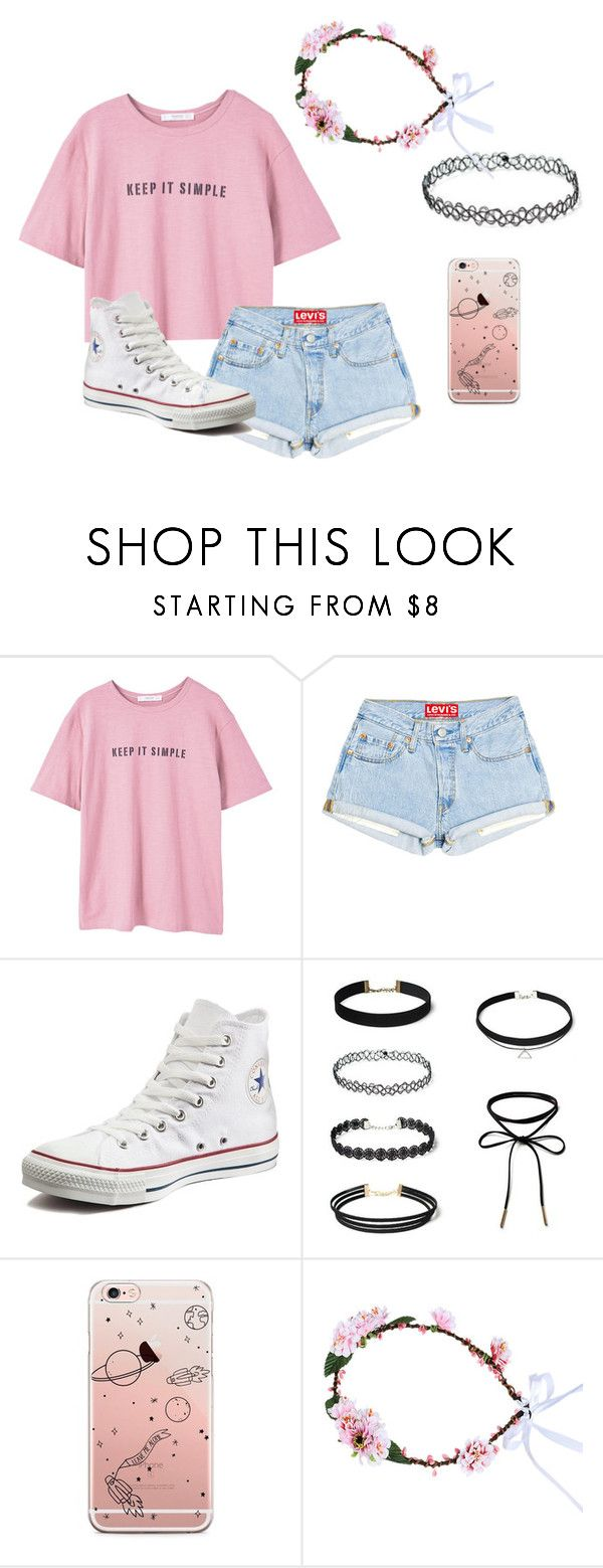 """""""Untitled #468"""" by sillydilly-1 ❤ liked on Polyvore featuring MANGO and Converse"""