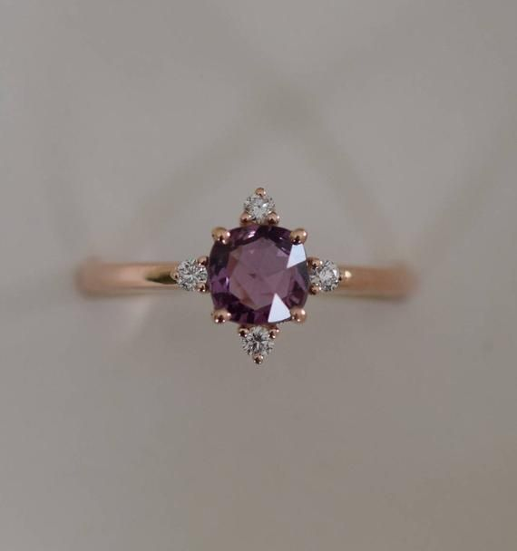 Purple sapphire engagement ring. Promise ring. Cushion engagement ring. 5 stone ring. Rose gold engagement ring. Gemstone ring Eidelprecious – Enrica