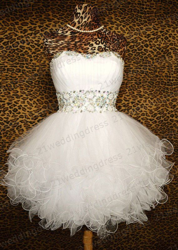 Charming Beaded Crystal Mini Length Cocktail Dress Sweetheart White Tulle Short Prom Gown Wedding Party Dress Corset Back Flower Girl Dress
