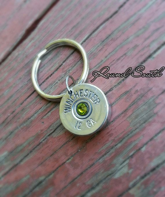 Shotgun shell keychain silver thick cut Winchester bullet jewelry  by RoundSouth, $9.99