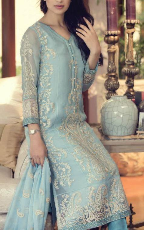 Buy Embroidered Chinese Chiffon Dress by Maria B. Chiffon Eid Collection.