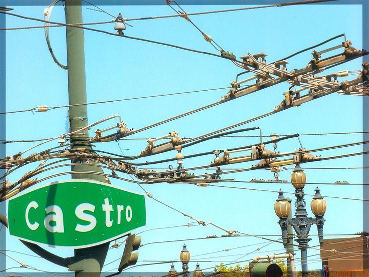 Overhead tram car lines in the Castro, San Francisco