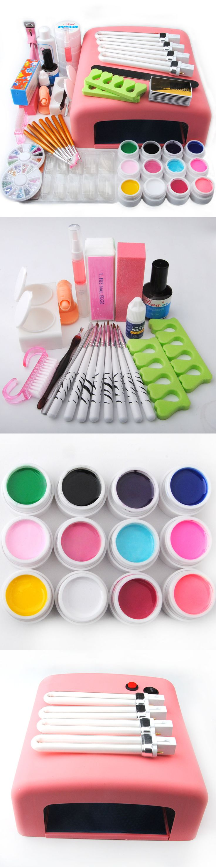 Nail Art Accessories: Nail Art Tools Set 36W Uv Lamp Dryer +12 Color Uv Gel Nails Tips Polish Kit -> BUY IT NOW ONLY: $34.34 on eBay!