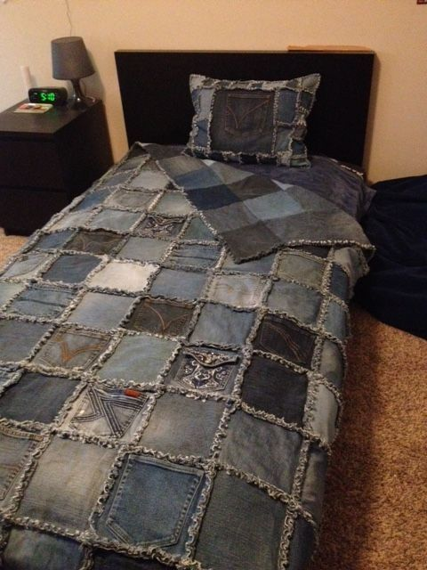 "Double sided Denim Rag Quilt and Denim Pillow made from old recycled blue jeans - Class Auction item.  Cut 8x8"" blocks with 8 columns down and 12 rows across. Used a 1/2 inch seam for the fringe. It fits a twin size bed.:"
