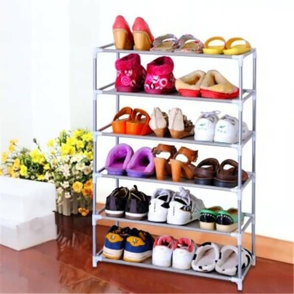 description multi tiers shoes shelf storage diy metal organizer rack holder household stands material metal color show as picture size 2