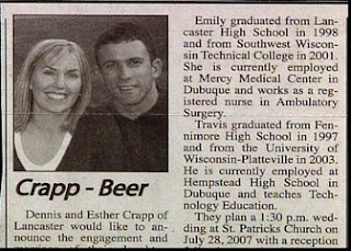 I've never had Crapp in my Beer.......Funny Conjoined, Funny Pictures, Crappie Beer, Funny Ads, Funny Wedding Announcements, Funny Stuff, Extreme Unfortunate, Funny Weddings, Gotta Laugh