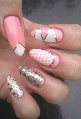 stiletto nails - gold and pink glitter
