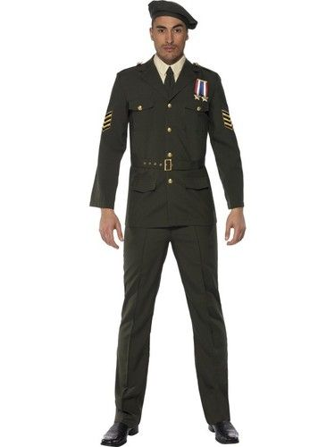 Wartime Officer Green Beret Tie Trousers Belt and Jacket