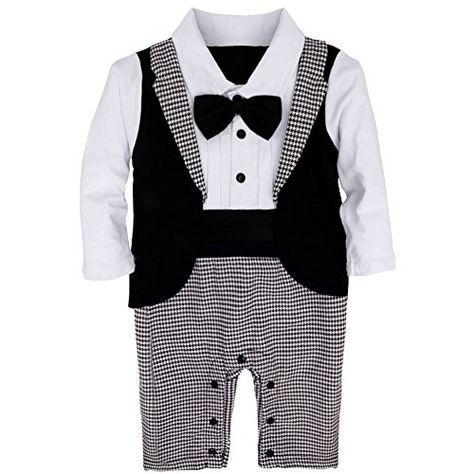YiZYiF 1tlg Baby Strampler Smoking f�r Jungen Kleinkind Gentleman Kleidung Langarm Body Taufe Hochzeit mit Bowknot, Schwarz&Wei�, 95 ( 18-24 Monate )