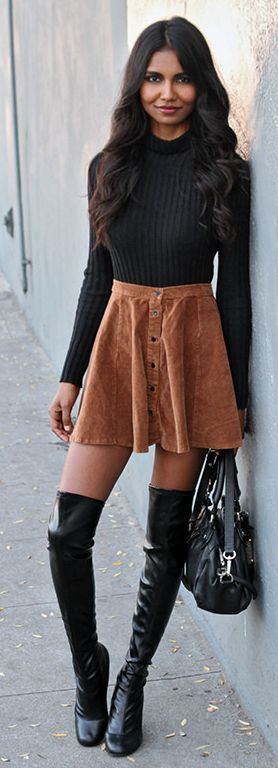 Victoria's Secret Style: Camel Suede Button Up Skirt Streetstyle by Tuolomee
