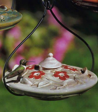 Habita Flora Ceramic Hummingbird Feeder by Parasol