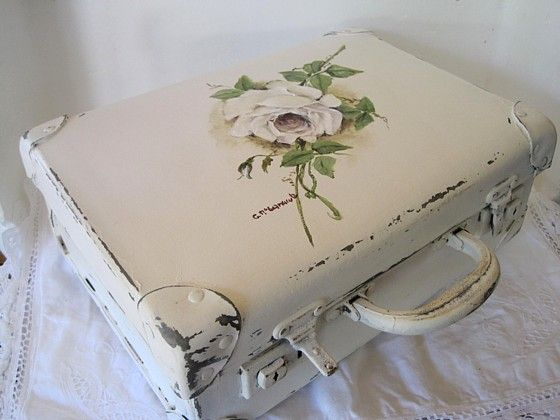 Sweet update on an old school case (luggage) - painted white, distressed, and a single rose added - posted on Originals by Gail & Tony McCormack - shabby chic projects