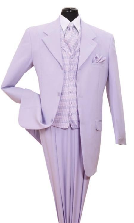 Lavender Fancy Pattern Vested Urban Men Suits Mensitaly