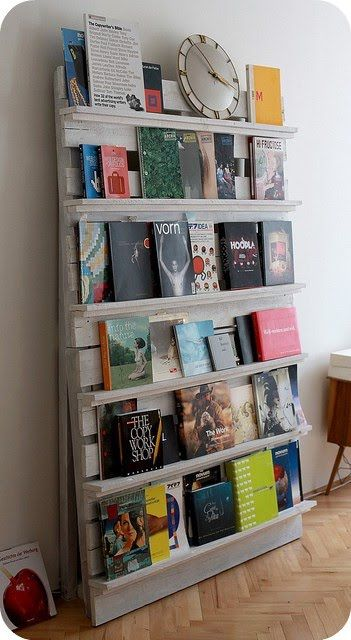 You can never have too many bookshelves! Also if it was shorter and longer, it would be a perfect display for kids books because it is easy to see the cover rather than read the tiny spine.: Book Shelf, Book Display, Idea, Wood Pallet, Bookshelf, Book Shelves, Pallets, Diy, Pallet Bookshelves