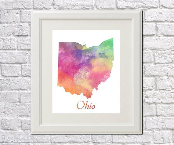3cb64cd1 Ohio State Map Ohio Print Ohio Art Ohio State Outline Ohio Home ...