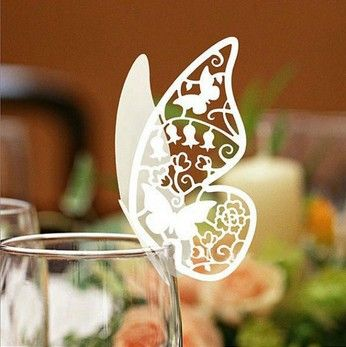 Butterfly Paper Place Card / Escort Card / Cup Card/ Wine Glass Card Paper for Wedding Par Wedding Favors US $6.50