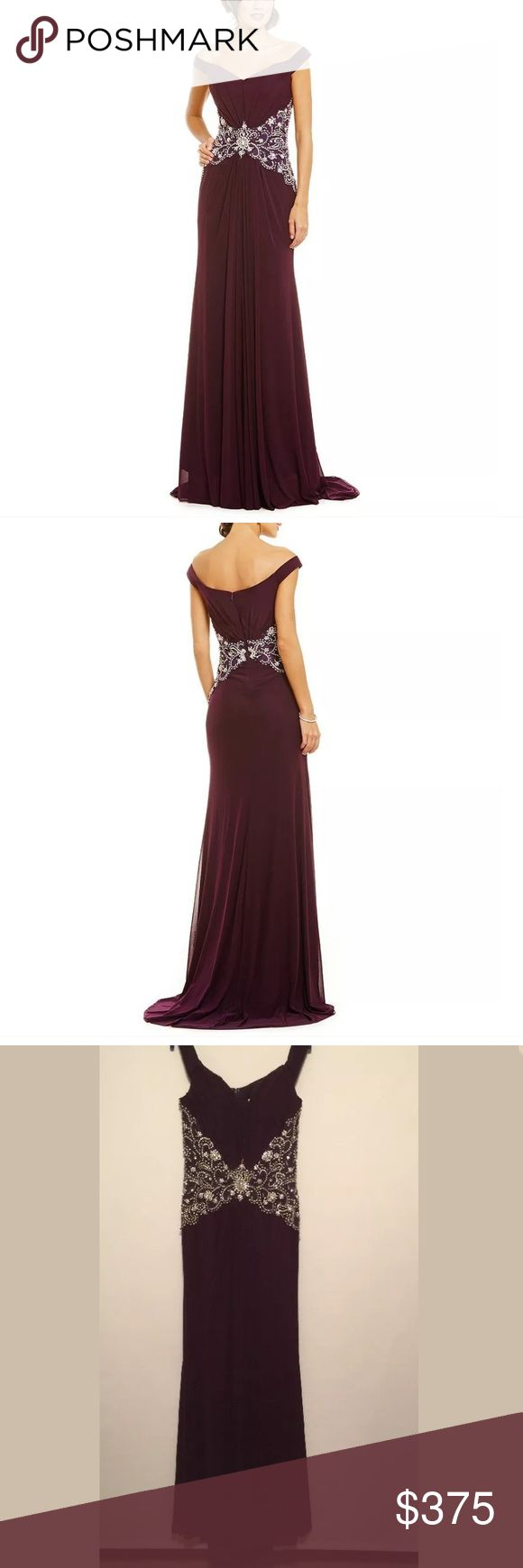 LASTING MOMENTS OFF-THE-SHOULDER BEADED GOWN Portrait, off-the-shoulder neckline Sleeveless Draped pleats on bodice Gathering at center front Crystal beading at waist Center back zipper closure Polyester/jersey chiffon Spot clean Lasting Moments  Dresses Prom