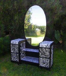 zebra striped furniture, art deco dresser | Deja Vue Designs