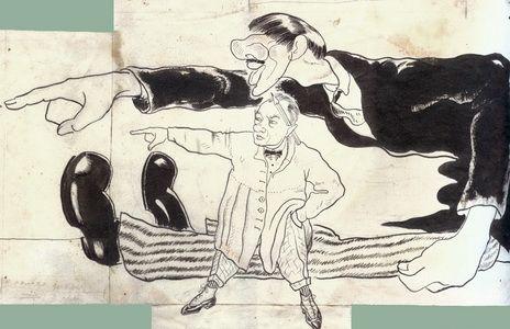 http://www.rp-net.ru/images/vystavki/Korney/20.jpg Корней Чуковский и Юрий Анненков. Автор книги и ее иллюстратор грозят грязнулям. «Мойдодыр», 1922–1923. Шарж Ю.П.Анненкова Бумага, тушь.