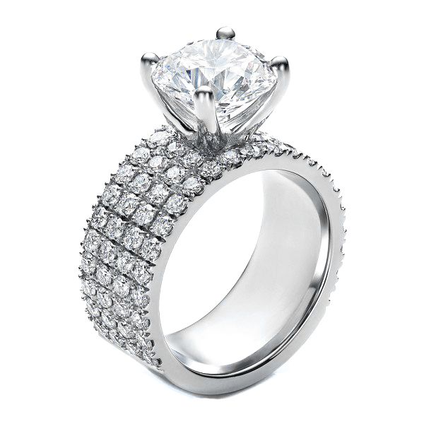 Quad Pave Band Diamond Engagement Ring