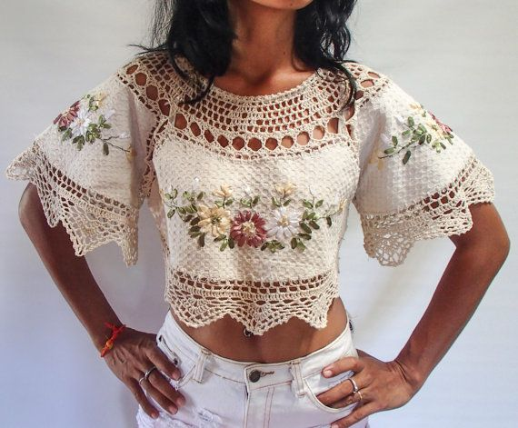 Beige Colored Hand Crochet Blouse/ Crop Top With Ribbon Embroidery and short Angel Wings, Lining inside. 1 of a Kind.