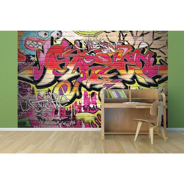 Brewster 118 In X 98 In City Graffiti Wall Mural Wals0003 Graffiti Wall Wall Murals Graffiti Wallpaper