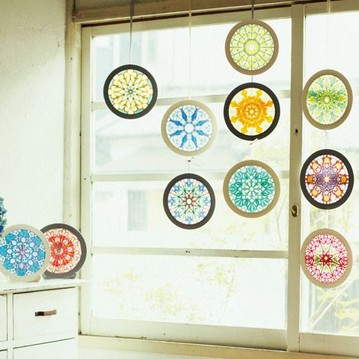 Tissue paper cut stained glass 'rosewindow'. Healing art with the color and Light. -Mandala- design by Asako Hirata