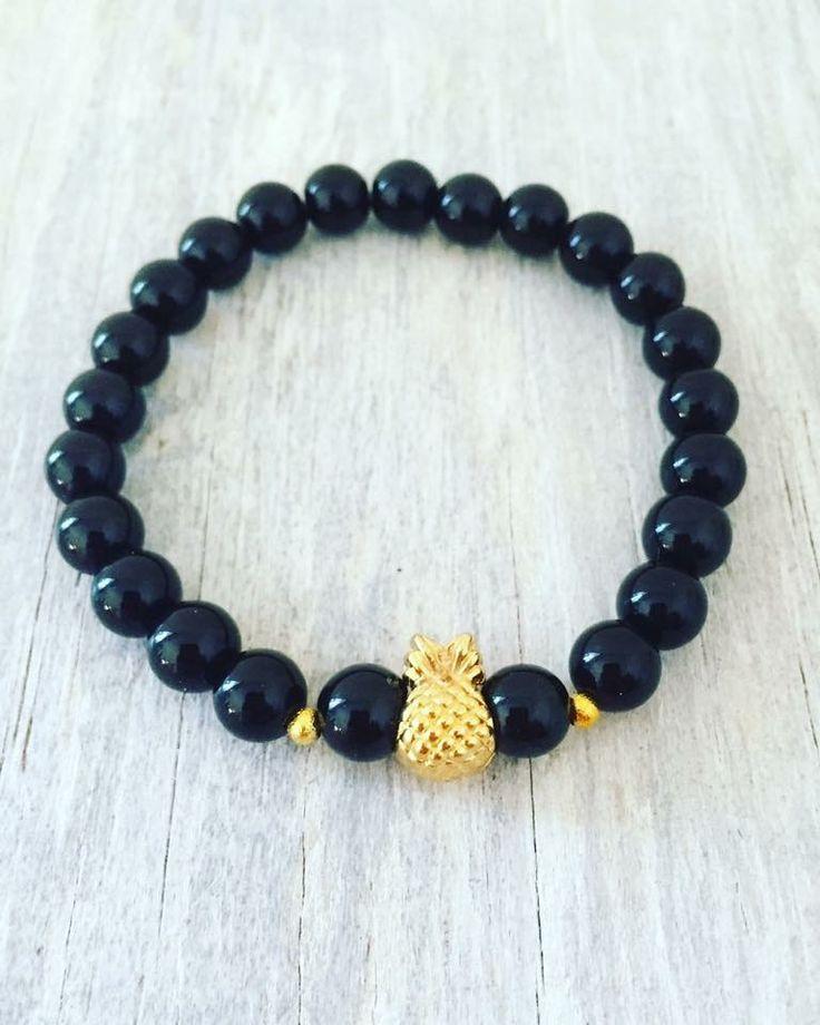 "Pineapple bracelet 8mm Black Onyx 7.25"""