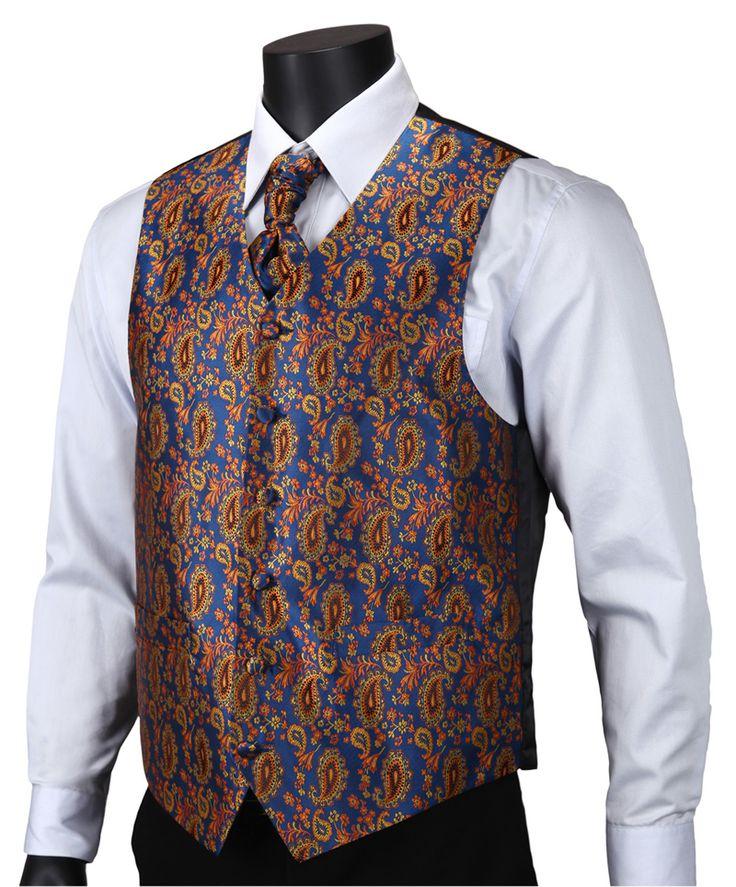 Ve18 аква оранжевый пейсли лучших свадебные мужчины 100% шелк жилет жилет карманные квадратных запонки галстук комплект для костюма смокинг купить на AliExpress
