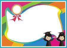 Kindergarten, kid diploma with rainbow background Stock Photos