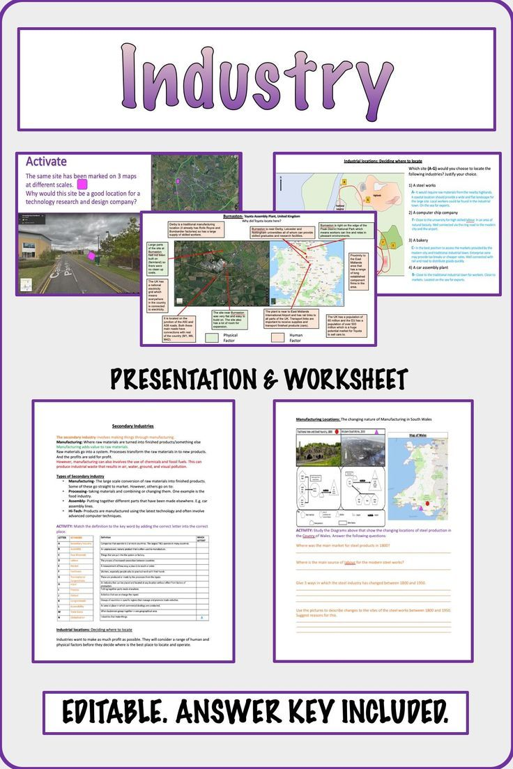 Industry Types Location Systems Geography Social Studies Printable And Dig Teaching Geography Higher Order Thinking Skills Social Studies Printables
