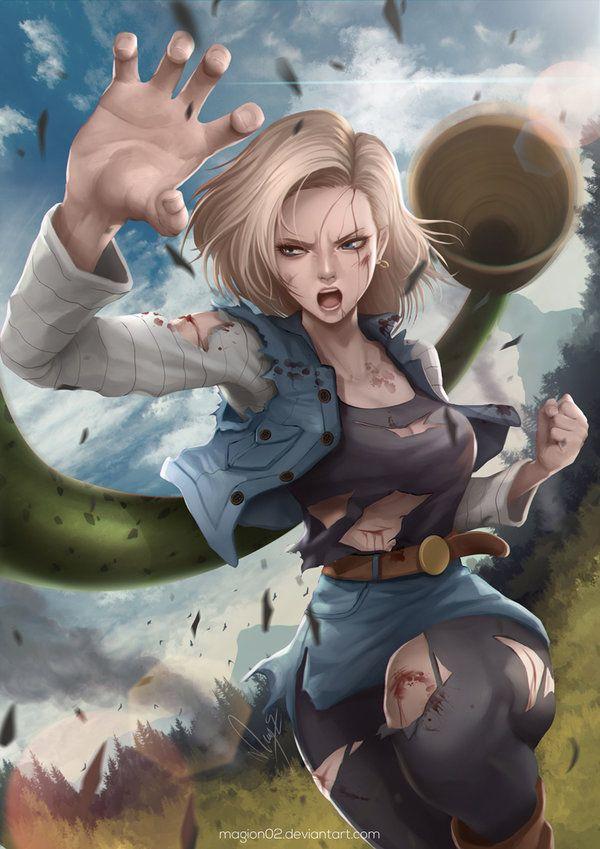 Ilustración de personajes de #DragonBall #Android 18