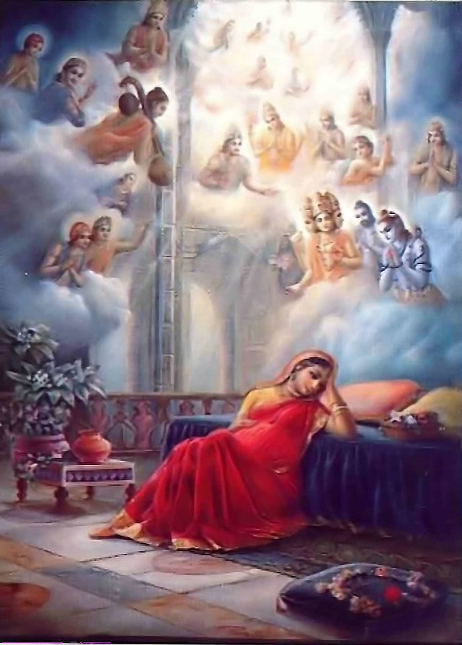 When the child of Devaki,Lord Balarama, was transferred into the womb of Rohini by Yogamaya,Devaki seemed to have a miscarriage.However,at that time the Supreme Personality of Godhead entered the mind of Vasudeva,& then that fully opulent Supreme Personality of Godhead was transferred to the mind of Devaki. Because the Supreme Personality of Godhead was in her womb,Devaki illuminated the entire place where they were imprisoned. Chapter 2.