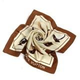 Cheap Fashion Louis Vuitton Animal and Flower Print Silk Twill Scarf - Brown/Beige Replica