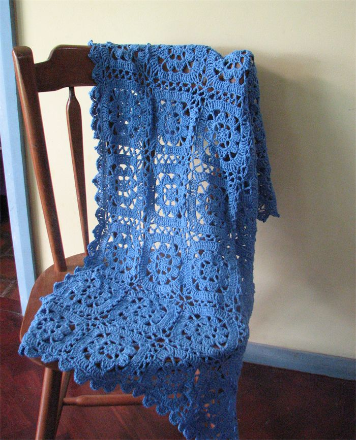 FOR SALE - COTTON, CROCHETED BLANKET, $75