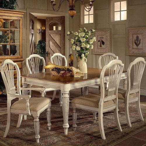 Hillsdale Furniture 4508-819 Wilshire Rectangular Dining Table by Hillsdale Furniture. Save 30 Off!. $859.00. Finish:Antique White The Wilshire collection features a blend of cottage styling with country-accented details. The blend of Americana and English Country gives the Wilshire collection a look and feel that will enhance any home. The craftsmanship is evident in each piece. Finishes have been painstakingly applied to give you years of enjoyment.  Pine table top Includes...