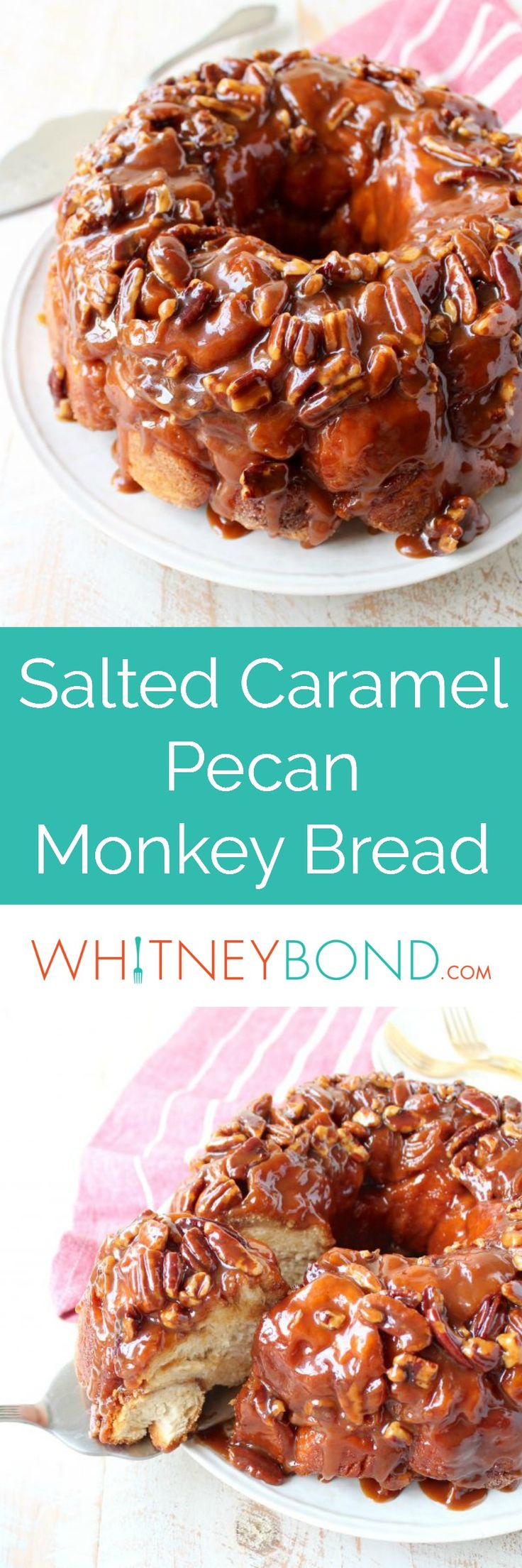 Salted caramel and pecans are added to this easy Monkey Bread Recipe that makes the most decadent, melt-in-your-mouth breakfast or brunch! Serve this delicious recipe with a @worldmarket Eat Drink and Be Merry Cake Server!