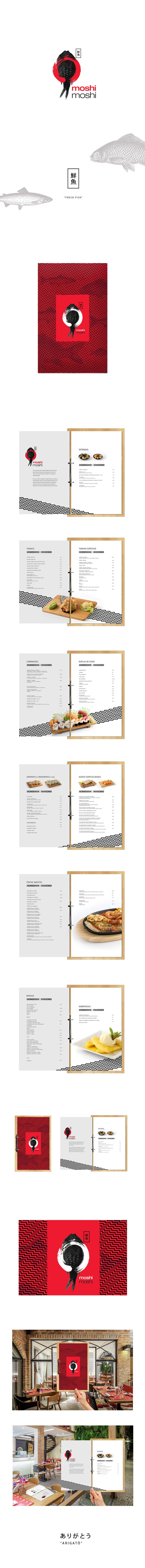 Moshi Moshi Japanese Restaurant Menu on Behance. Like the position and contrast between the red and black with the fish.