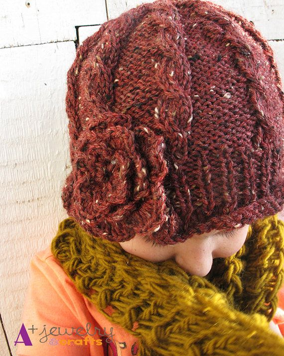 Red tweed knit hat knitting hand knitted hat by APlusJewelryCrafts, $24.00