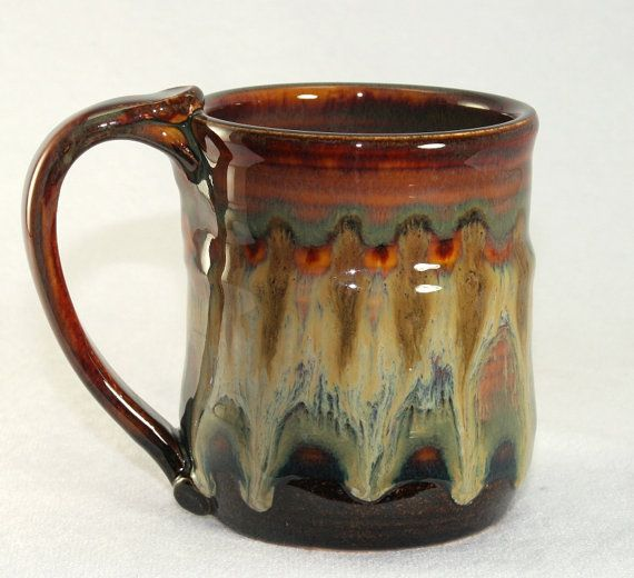 Stoneware mug handmade pottery 10oz by DrostePottery on Etsy (I really love the variations in the glaze on this piece!)