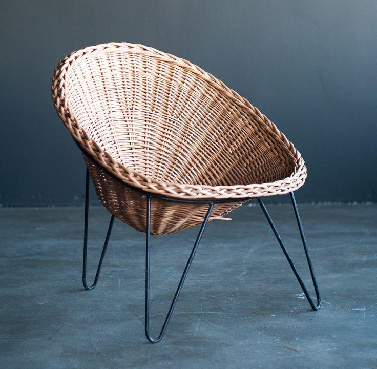 Mathieu Matégot; Wicker and Steel Loungechair, c1950.