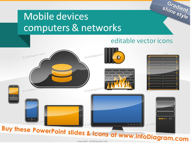 Icons of IT devices - PC computer monitor, tablet, mobile... editable in PowerPoint #powerpoint #template #theme #computer #server