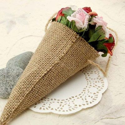 Hessian Burlap Pew Cone Flower Holder Birthday Baby Shower or Anniversary Rustic Wedding Table Decorations - http://www.aliexpress.com/item/Hessian-Burlap-Pew-Cone-Flower-Holder-Birthday-Baby-Shower-or-Anniversary-Rustic-Wedding-Table-Decorations/32350395202.html
