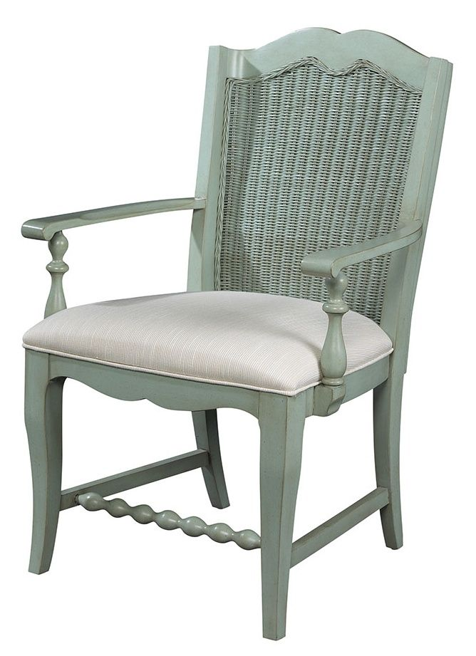 Description: Sky finish. 19″ seat height. 25-3/8″ arm height. Also Available: 1050-825 Wicker Back Arm Chair. Lodge finish. 1051-825 Wicker Back Arm Chair. Shell finish. 1052-825 Wicker Back Arm Chair. Sea Grass finish. Dimensions: 26W 19-1/2D 39H Style Number: 1053-825