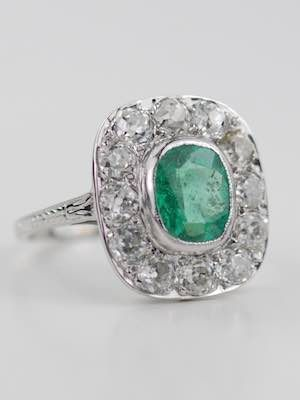 Edwardian Antique Ring With Cushion Cut Emerald Rg 3597 Topazery