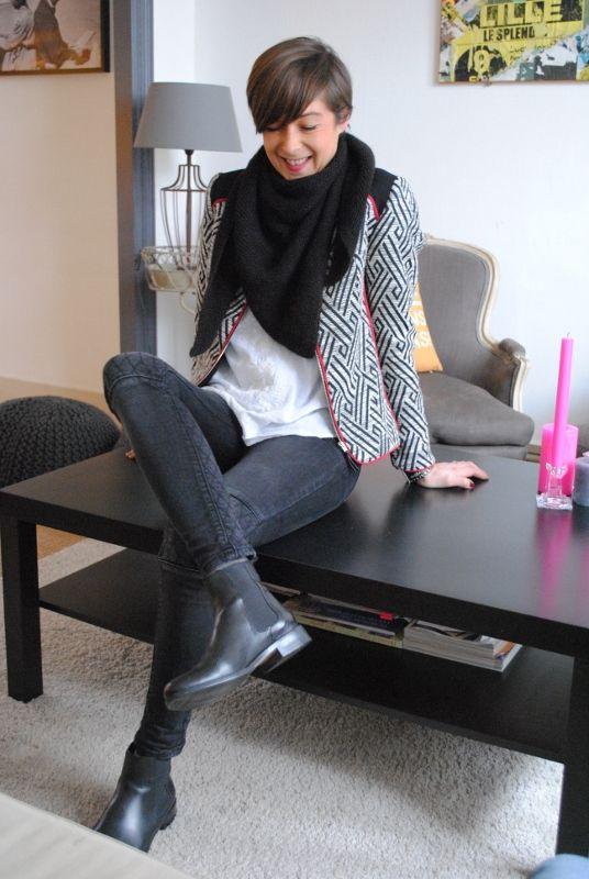 Veste perfecto découpe cuir et passepoil contrastant