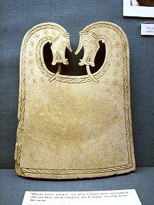 "Viking Plaque found in Ship Burial at Scar. Often believed to be ""ironing boards"", these plaques are now rather interpretated as intended for serving food."