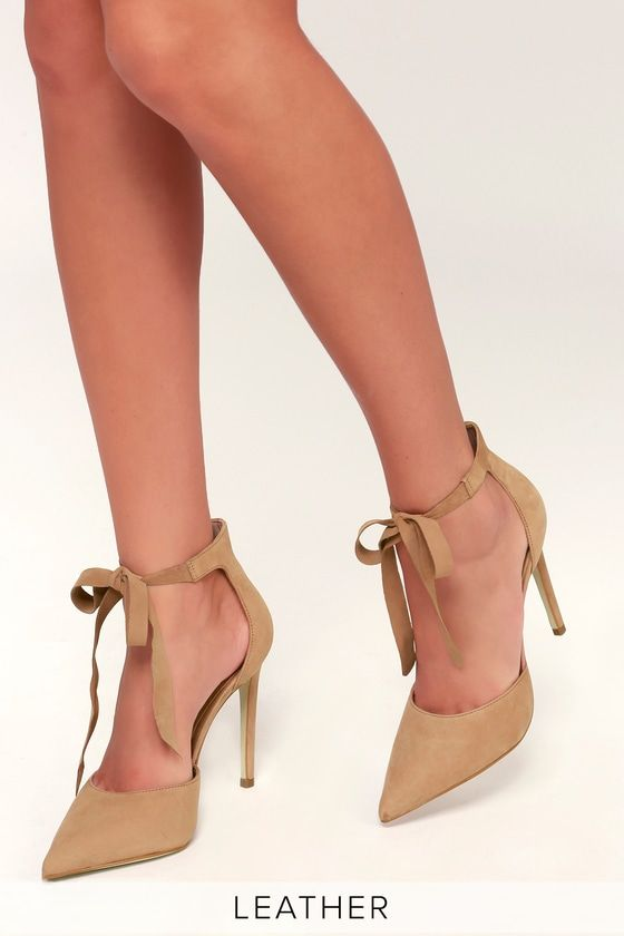 cd8bdeb15ffa The Steve Madden Heart Camel Nubuck Leather Lace-Up Heels are an instant  outfit upgrade! Velvety genuine nubuck leather creates these pointed toe  lace-up ...