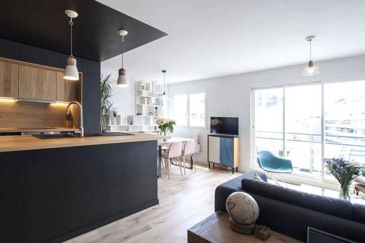 les 25 meilleures id es de la cat gorie cuisine noire et bois sur pinterest cuisine bois et. Black Bedroom Furniture Sets. Home Design Ideas